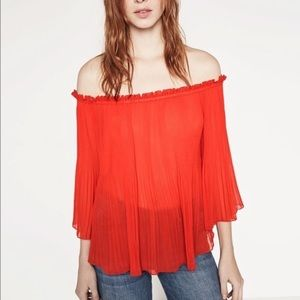 Zara Pleated Red Off-Shoulder Sheer Top Stretch